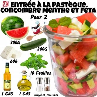 Entrée à la pastèque, concombre, menthe et féta