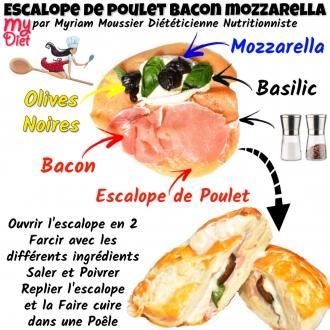 Escalope de poulet bacon mozzarella
