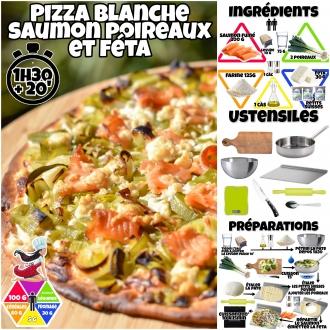 Pizza blanche saumon poireaux et feta