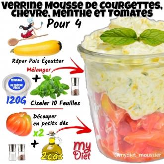 Verrine mousse de courgettes, chèvre, menthe et tomates